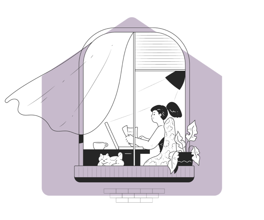 Illustration of woman in room reading a book