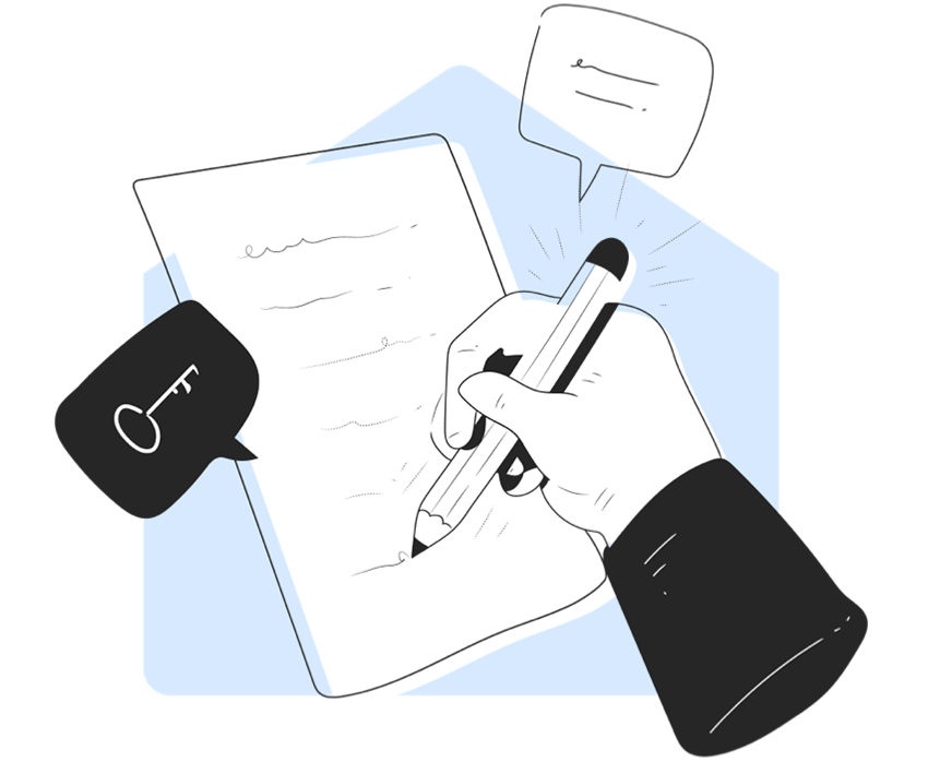 Illustration of hand writing on paper