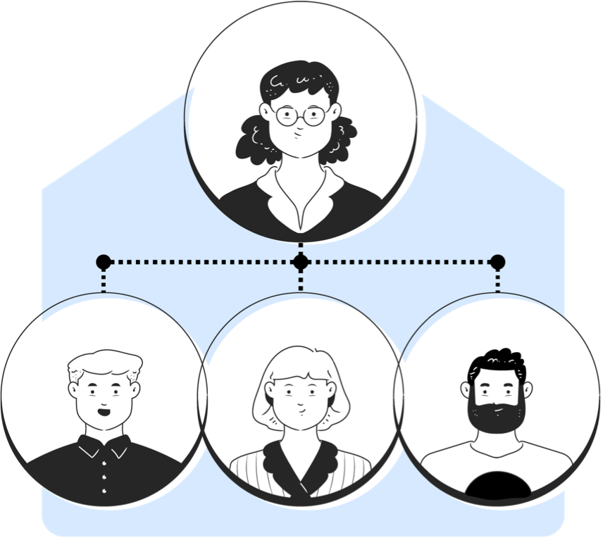 Network of people with woman at top