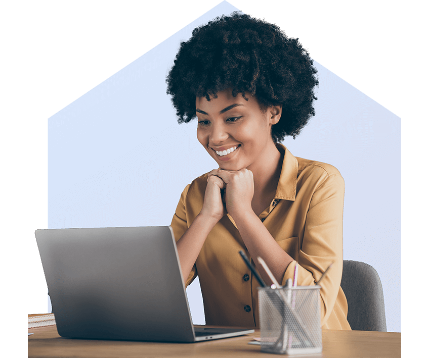 Smiling black woman looking at laptop with Pineapple Mortgage Agent Quadrant logo
