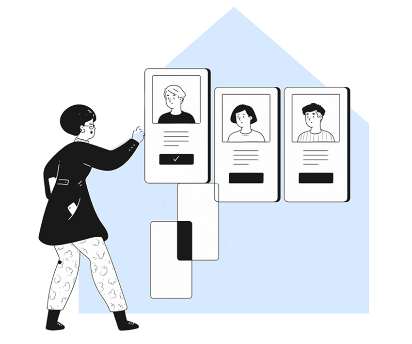 woman in front of 3 phone screens